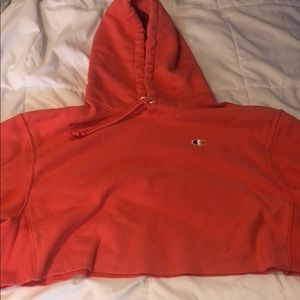 Pinky/Orange Champion Cropped Hoodie